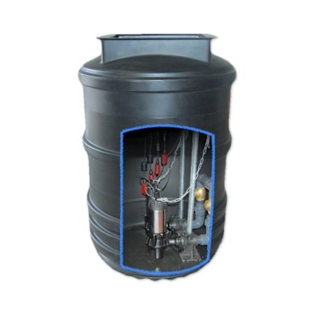 1200 litre twin pump sewage pumping station