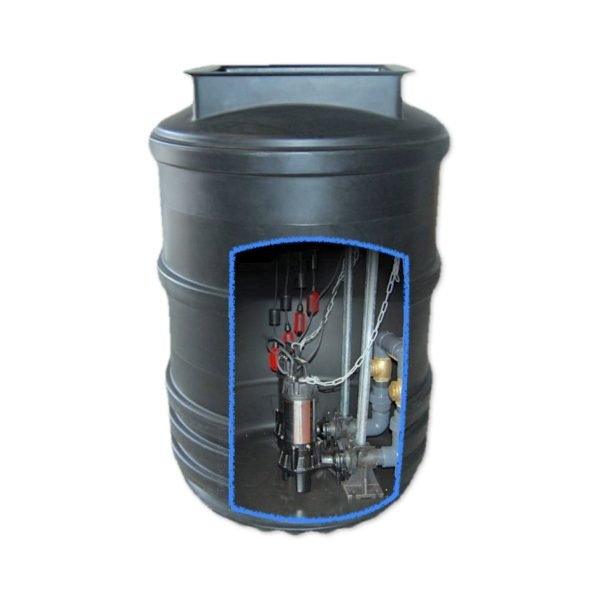 1200 litre twin pump sewage pumping station