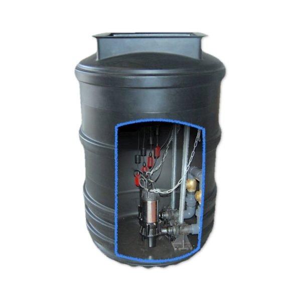 1700 litre twin pump sewage pumping station