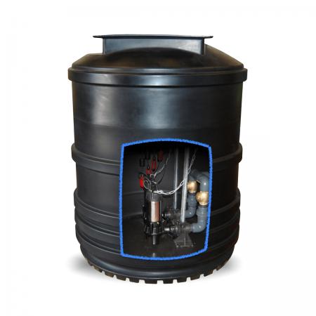 2600 litre twin sewage pumping station