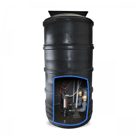 3500 litre twin pump sewage pumping station