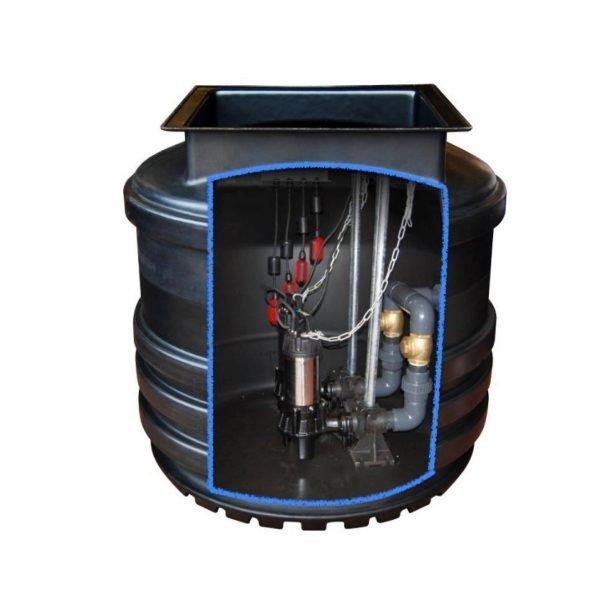800 litre twin pump sewage pumping station