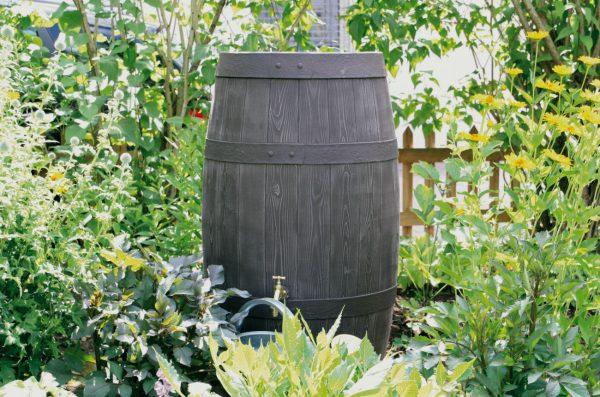 water butt 250 litre Barrique in garden