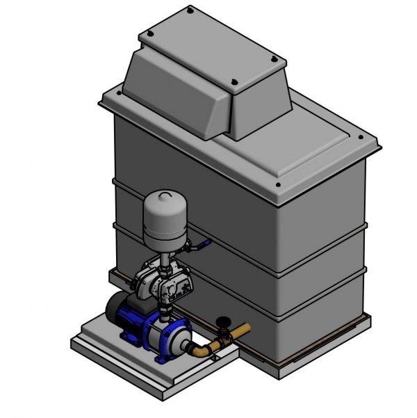 booster set and break tank, single pump, 501-litre break tank