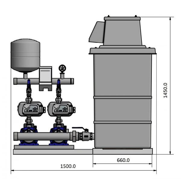 front view of twin pump and 1000 litre tank