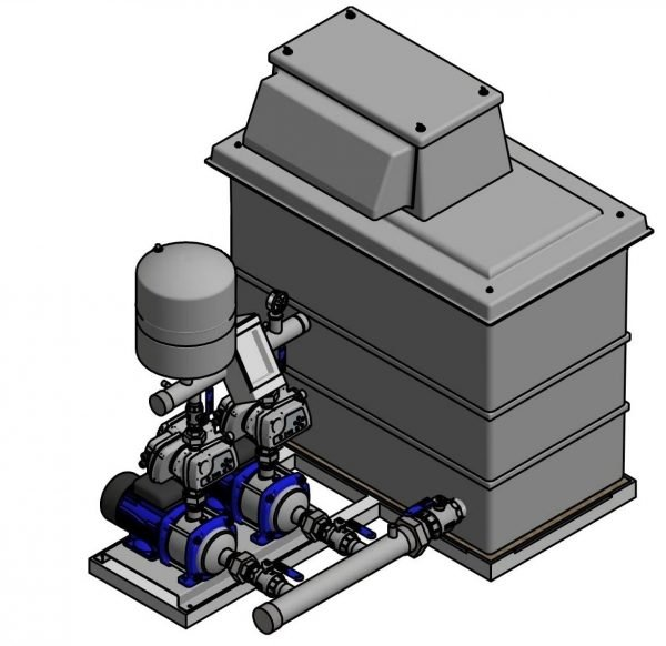 cat 5 booster set and break tank twin pump 501 litre tank