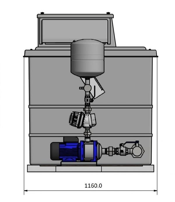 side view of pump and pump controller