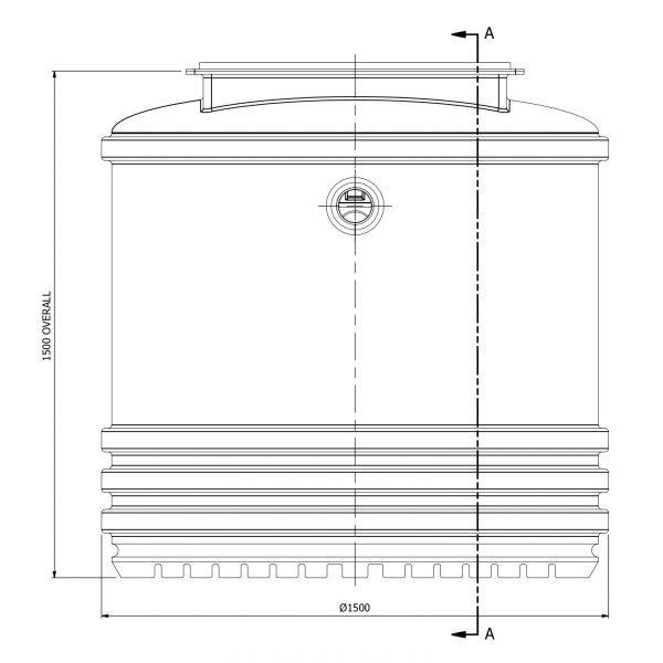 2400 litre underground rainwater tank side view